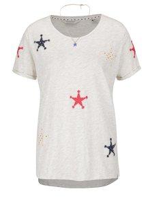 Béžové melírované tričko s nášivkami v tvare hviezd Maison Scotch