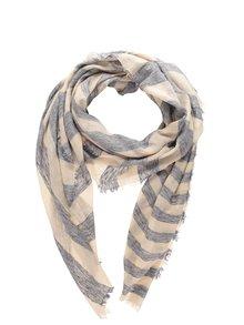 Krémovo-modrý pruhovaný šátek Pieces May
