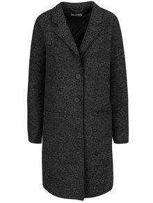 Tmavě šedý žíhaný kabát s příměsí vlny ONLY Ella