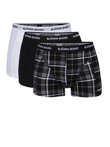 Súprava troch boxeriek v čiernej a bielej farbe Björn Borg