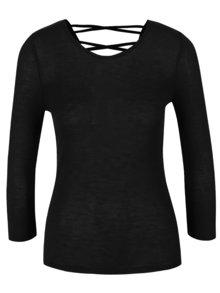 Bluză neagră Zabaione Anna cu șireturi la spate