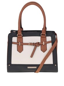Čierno-krémová kabelka s hnedými detailmi Dorothy Perkins