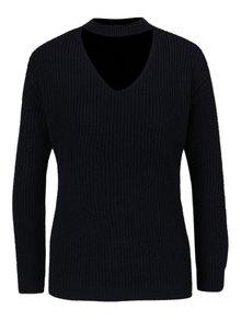 Tmavomodrý sveter s chokerom Dorothy Perkins