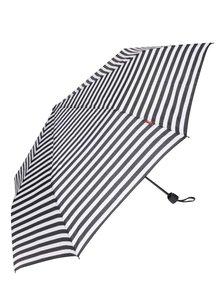 Čierno-krémový dámsky pruhovaný dáždnik s.Oliver