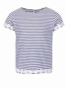 Modro-krémové dievčenské pruhované tričko s kvetovanou aplikáciou Tom Joule