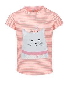 Krémovo-oranžové holčičí pruhované tričko s motivem kočky Tom Joule