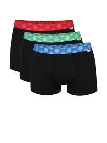 Sada tří boxerek v černé barvě s barevnými lemy Happy Socks