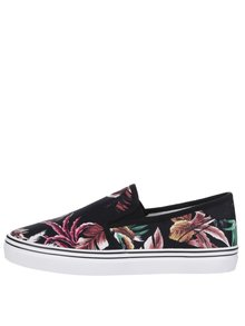 Teniși slip on negri Tamaris cu model floral