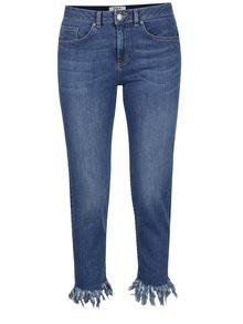 Modré 3/4 skinny džíny s třásněmi Miss Selfridge