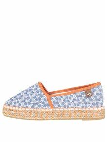 Espadrile albastre & portocaliu Tamaris cu model floral