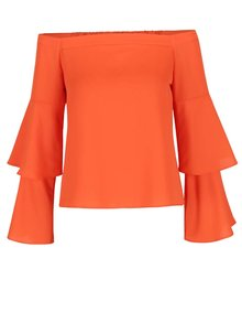 Oranžový crop top s volánmi Miss Selfridge