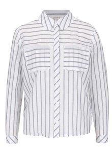 Sivo-krémová pruhovaná košeľa s mašľou Miss Selfridge Petites
