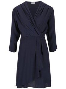 Tmavomodré šaty s prekladaným výstrihom VILA Peach