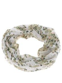 Krémovo-zelený vzorovaný dutý šátek Pieces Larya