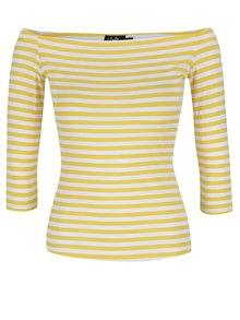 Bluză galbenă în dungi Dolly & Dotty Gloria cu decolteu pe umeri