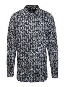 Krémovo-modrá vzorovaná košeľa Jack & Jones Martin