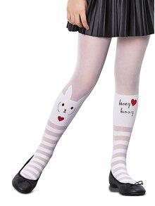 Bílé holčičí punčocháče s motivem králíčka Penti Love Bunny 30 DEN
