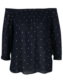 Bluză bleumarin VERO MODA Pukki cu decolteu pe umeri