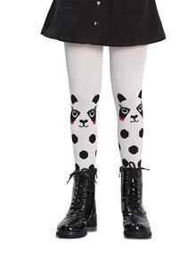 Černo-bílé holčičí punčocháče s motivem pandy Penti Love Panda 40 DEN