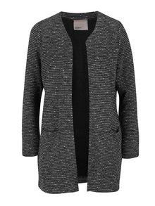 Tmavě šedý dlouhý pruhovaný kabát VERO MODA Struc-Anna