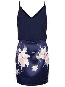 Tmavě modré minišaty s květovanou sukní AX Paris