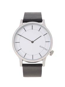 Unisex hodinky v striebornej farbe s koženým remienkom Komono Winston Regal