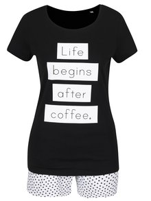 Pijama negru & alb ZOOT Original Life begins after coffee din bumbac cu print și model
