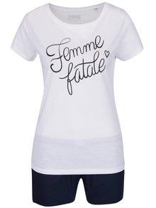 Pijama alb & albastru ZOOT Original Femme fatale din bumbac cu print