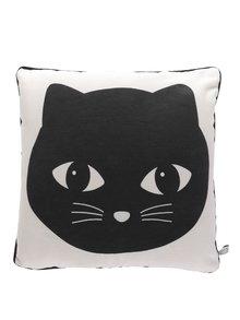 Pernă bej&negru Sass & Belle cu imprimeu pisică