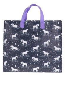 Tmavomodrá vzorovaná taška Sass & Belle