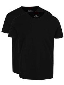 Set de 2 tricouri negre s.Oliver din bumbac cu logo pentru bărbați