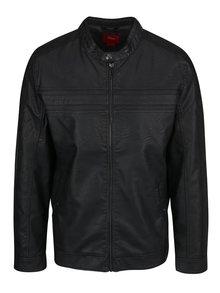Jachetă neagră s.Oliver din piele sintetică cu guler la baza gâtului