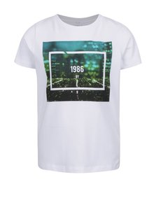 Tricou alb name it Fabio cu print pentru băieți