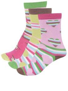 Sada tří vzorovaných dámských/holčičích ponožek v růžové a zelené barvěOddsocks Fiesta