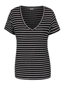 Bílo-černé pruhované tričko s véčkovým výstřihem Jacqueline de Yong Spirit