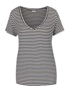 Černo-bílé pruhované tričko s véčkovým výstřihem Jacqueline de Yong Spirit