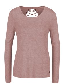 Bluză roz pal ONLY Cosy cu șireturi