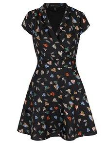 Rochie neagră Mela London cu model și cordon în talie