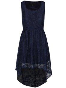 Rochie albastru închis Mela London din dantelă cu tiv asimetric