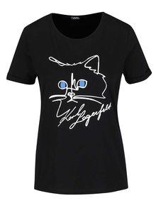 Čierne tričko s motívom mačky KARL LAGERFELD