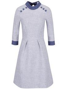 Modro-šedé šaty s nízkým rolákem Closet
