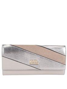 Strieborno-béžová kožená peňaženka KARL LAGERFELD
