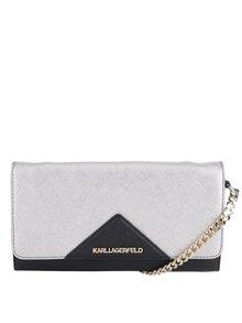Sivo-čierna malá kožená crossbody kabelka/lístoček KARL LAGERFELD
