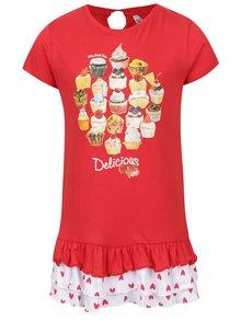Rochie roșie North Pole Kids din bumbac cu print și model