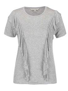 Sivé tričko s volánmi Miss Selfridge