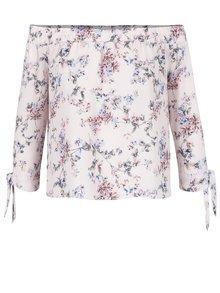 Světle růžová květovaná krátká halenka Miss Selfridge Petites