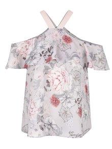 Růžovo-šedá květovaná halenka s odhalenými rameny Miss Selfridge