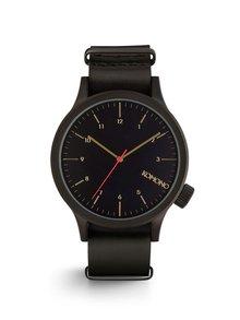 Čierne unisex hodinky s koženým remienkom Komono Magnus