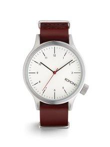 Unisex hodinky v striebornej farbe s koženým remienkom Komono Magnus