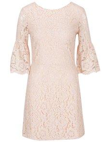 Starorůžové krajkové šaty s 3/4 zvonovým rukávem Miss Selfridge